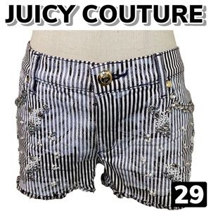 JUICY COUTURE Embellished Striped Shorts (29)